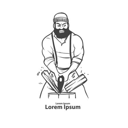 lumberjack: lumberjack with axe, serious man, beard, simple illustration