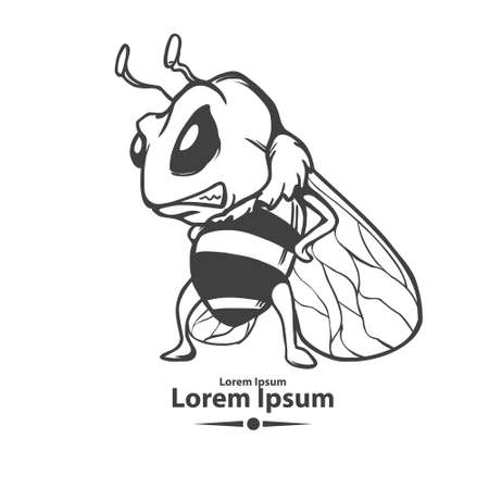 queen bee: angry cartoon bee, mascot, emblem for sport team, concept character, simple illustration Illustration