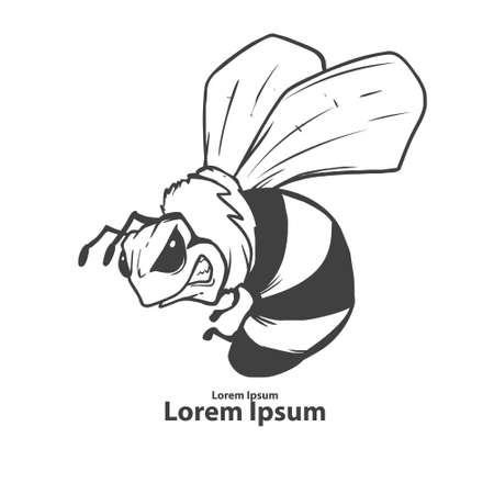 abeja reina: abeja enojada del dibujo animado, mascota, emblema para las personas de deporte, el concepto de carácter, simple ilustración