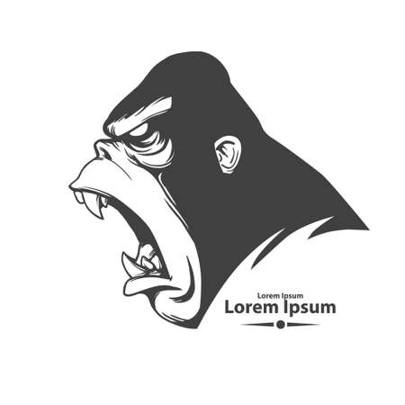 angry gorilla head, profile view, mascot, emblem for sport team, simple illustration, monster screaming