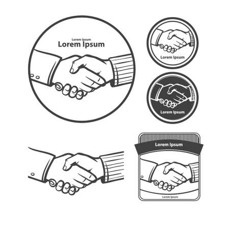 buisiness: handshake in circle, design elements, mascot buisiness and finance, simple illustration Illustration