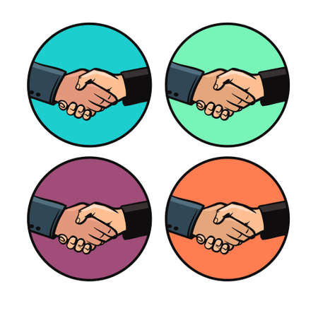 buisiness: handshake in circle, design elements, mascot buisiness and finance, simple color illustration