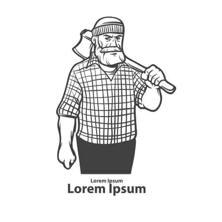 pine forest: lumberjack with axe, serious man, beard, simple illustration