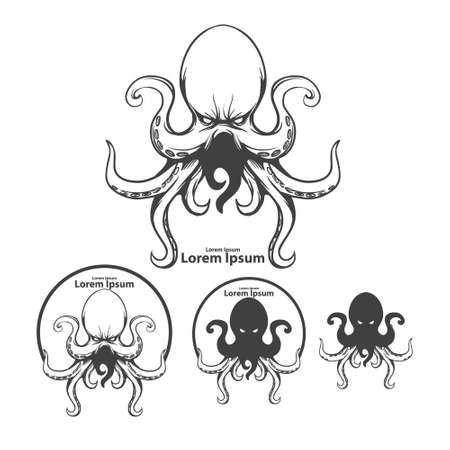 silhouette octopus, mascot, ocean life concept, simple illustration, sea monster, kraken