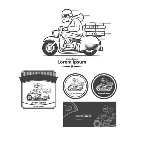 deliver: cartoon pizza delivery man riding motor bike isolated on background, design elements Illustration