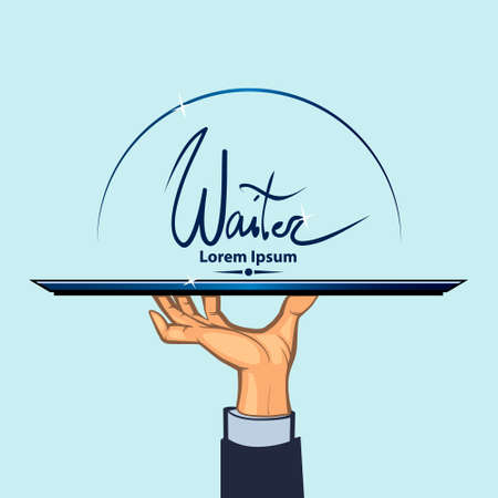 waiter tray: waiter, human hand with a tray, simple color illustration Illustration