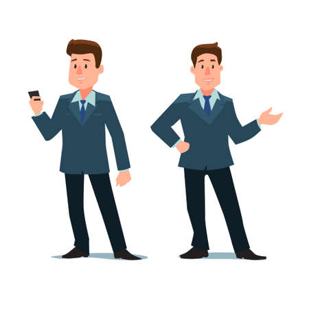 man pointing: cartoon character, business man with phone and show something, in various poses, vector illustration
