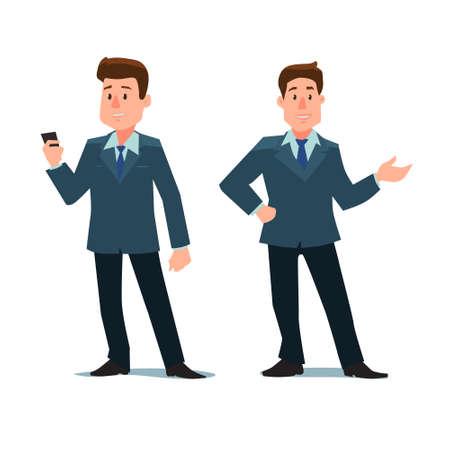 hombre caricatura: personaje de dibujos animados, el hombre de negocios con el teléfono y mostrar algo, en varias poses, ilustración vectorial