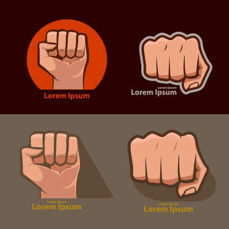 wallop: set of images, for logo, fist icon. fist silhouette