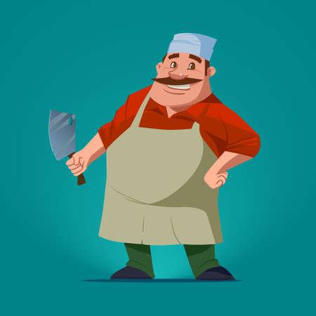 carnicero: carnicero divertido, personaje de dibujos animados, ilustración vectorial, fondo aislado