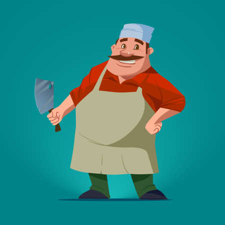 funny butcher, cartoon character, vector illustration, isolated background