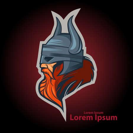 vikingo: Ilustración simple logotipo, jefe vikingo, vista de perfil, enojado, equipo de deporte