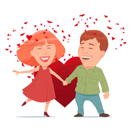 couple date: Valentines Day card, vector illustration, happy couple, love, cartoon characters, romantic date
