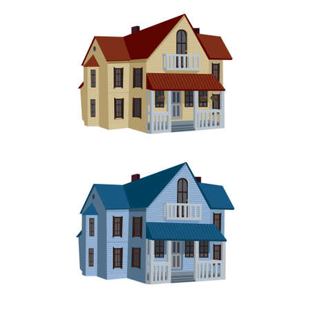 red roof: cartoon house, red roof, blue roof, vector illustration