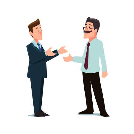 negociacion: personajes de dibujos animados, hombres de negocios, la colaboración, el trabajo en equipo de negociación, ilustración vectorial