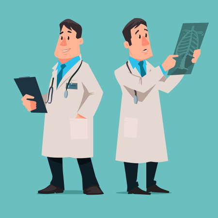 doctor cartoon: cartoon male doctor character, test results x-ray, vector illustration, isolated background