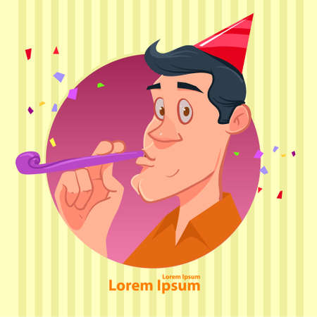 noisemaker: man wearing party hat and blowing noisemaker, circle, happy birthday, vector illustration