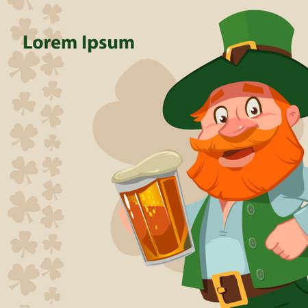 irish beer: leprechaun, Irish man with beer, St. Patricks Day design, cartoon character, vector illustration