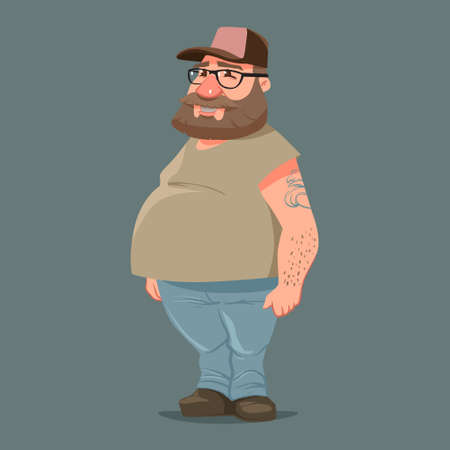 redneck: funny cartoon character, truck driver with beard in trucker cap, vector color illustration