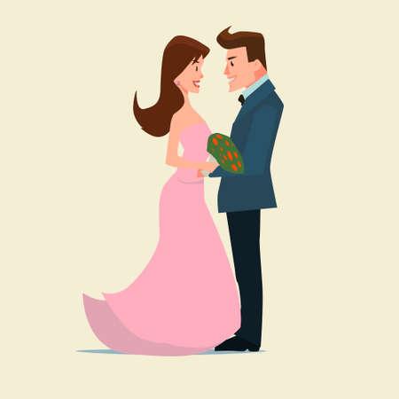 cartoon wedding couple: funny cartoon wedding couple, vector illustration for design wedding invitation, card