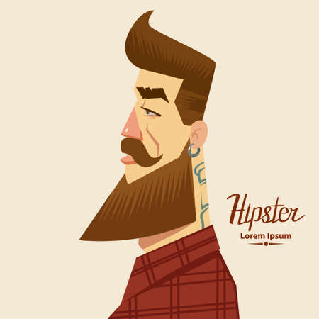 cartoon character, hipster label badge, simple iilustration, man, profile view