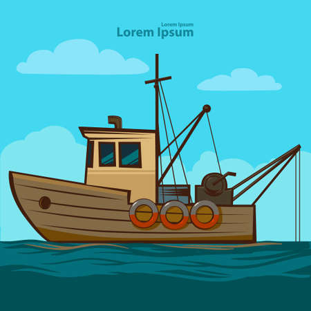 ocean view: fishing boat, simple illustration