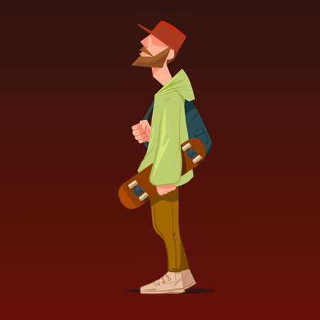 funny boy: cartoon character holding skateboard, hipster, vector illustration