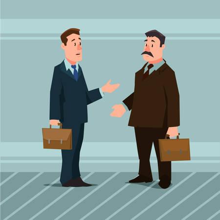 cartoon characters, businessmen, collaboration, teamwork negotiation, vector illustration