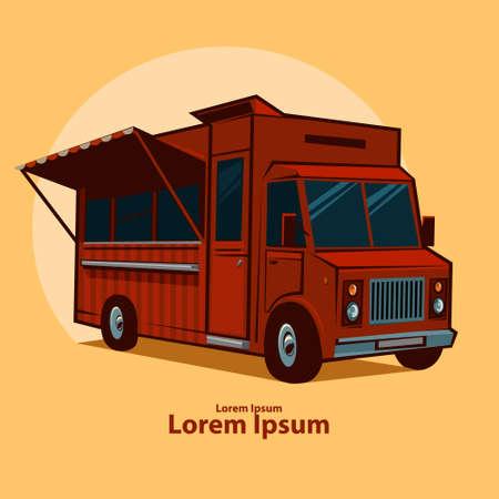 camion caricatura: alimentos camión emblema, festival, para su diseño, ilustración vectorial