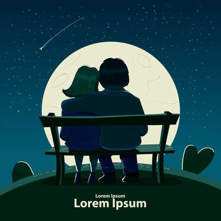Tarjeta del día de San Valentín, ilustración vectorial, feliz joven sentado en un banco, amor, abrazos, personajes de dibujos animados, cita romántica, noche, luna, estrellas