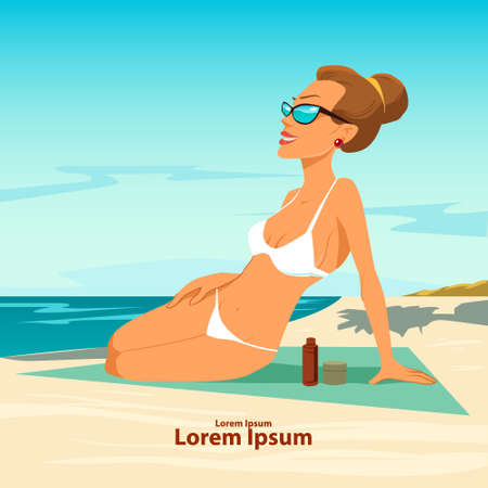 nude outdoors: beautiful girl in bikini on a beach, vector illustration, travel and rest Illustration