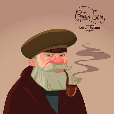 cruise cartoon: ship captain portrait, cartoon character, pipe, smoke, vector illustration