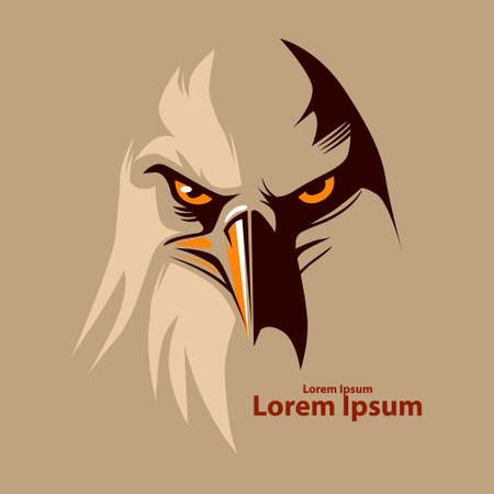 eagle head for logo, american symbol, simple illustration Ilustração