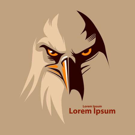 halcones: Águila de cabeza para el logotipo, símbolo americano, simple ilustración