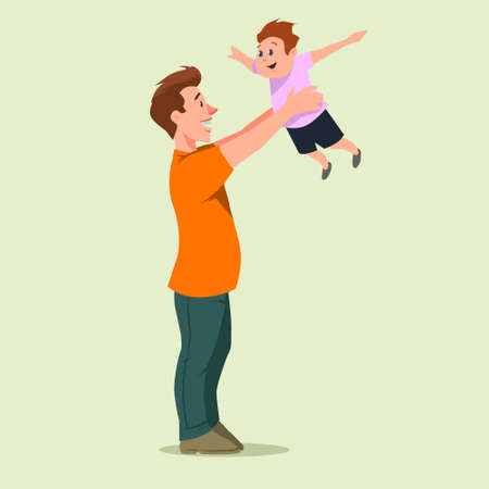 paternity: happy father holding his son, cartoon character, vector illustration