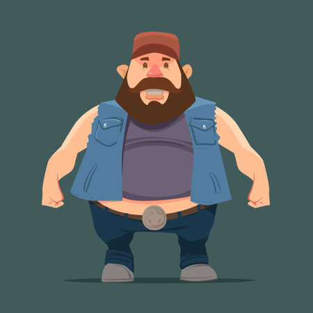 sarcastic: funny cartoon character, truck driver with beard in trucker cap, vector color illustration