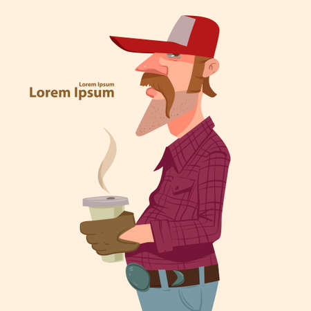 truck driver in cap with cup of coffee, cartoon character Ilustração