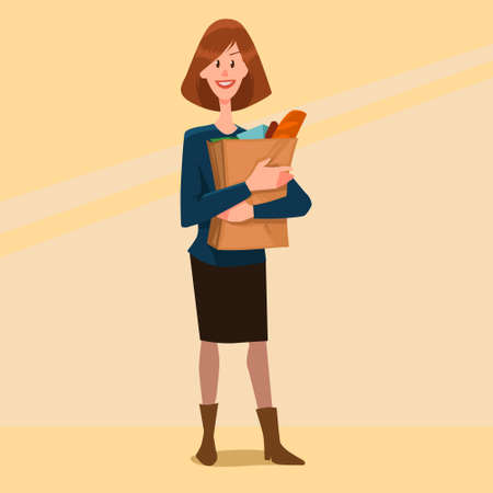 woman holding bag: cute young woman holding a bag of groceries, cartoon character, vector illustration