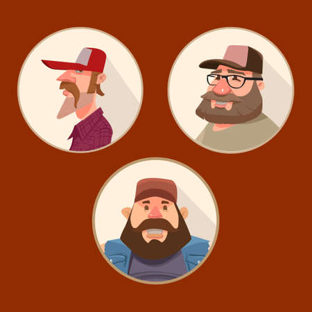 truck driver: set of  funny avatars, driver truck, cartoon character, portrait in circle, vector illustration