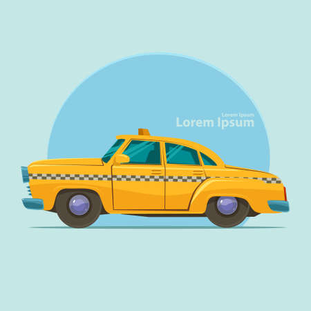 yellow taxi: yellow taxi car, cartoon vector illustration Illustration
