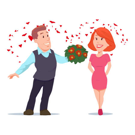 couple date: Valentines Day card, vector illustration, happy couple, love, cartoon characters, romantic date, man giving flowers