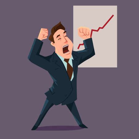 happy businessman, investor, cartoon character, vector illustration