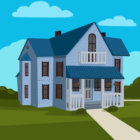 yard: cartoon house and yard, vector illustration