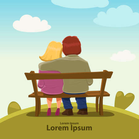 Valentine's Day card, vector illustration, happy couple sitting on a bench, love, hugs, cartoon characters, romantic date Illustration