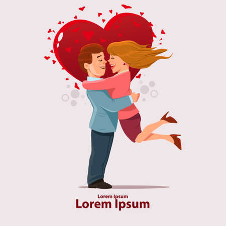Valentines Day card, vector illustration, happy couple, love, hugs, cartoon characters, romantic date