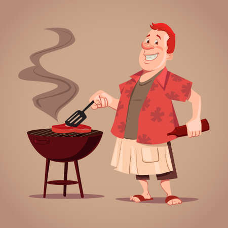 pork sausage: cartoon character, BBQ, chef, outdoor, rest, man cooking meat, vector illustration