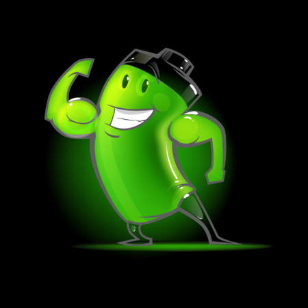 full battery, cartoon character, power, charger, vector illustration, muscular, funny