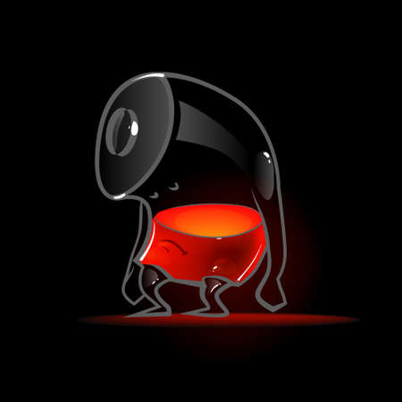 inner cylinder: full battery, cartoon character, power, charger, vector illustration, tired, funny