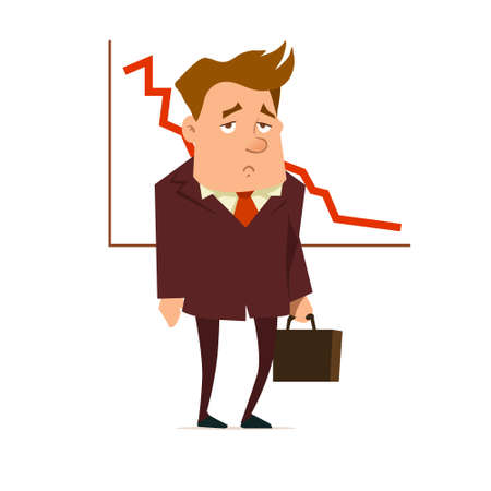 manager, businessman analyzes charts, a report of work, trend in a market, business plan, strategy, sad, falling, graphics, vector illustration