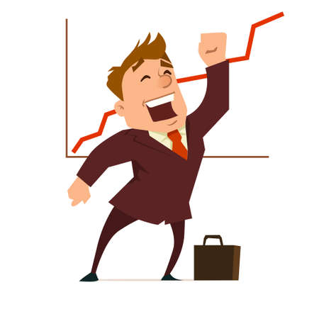 manager, businessman analyzes charts, a report of work, trend in a market, business plan, strategy, happy, success, graphics, vector illustration